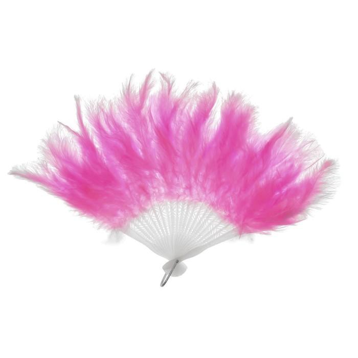 Веер пуховой, 25 см, цвет розовый - фото 1716709