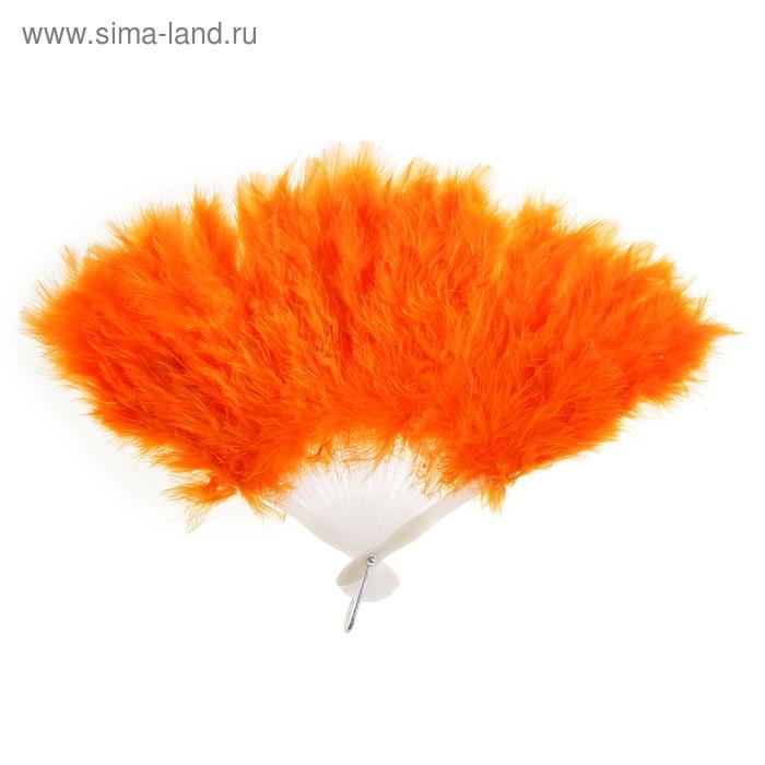 Веер пуховой цвет оранжевый 25см