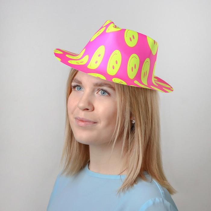 """Карнавальная шляпа """"Смайл"""" с выемкой. В наборе 1 цвет, цвета МИКС"""