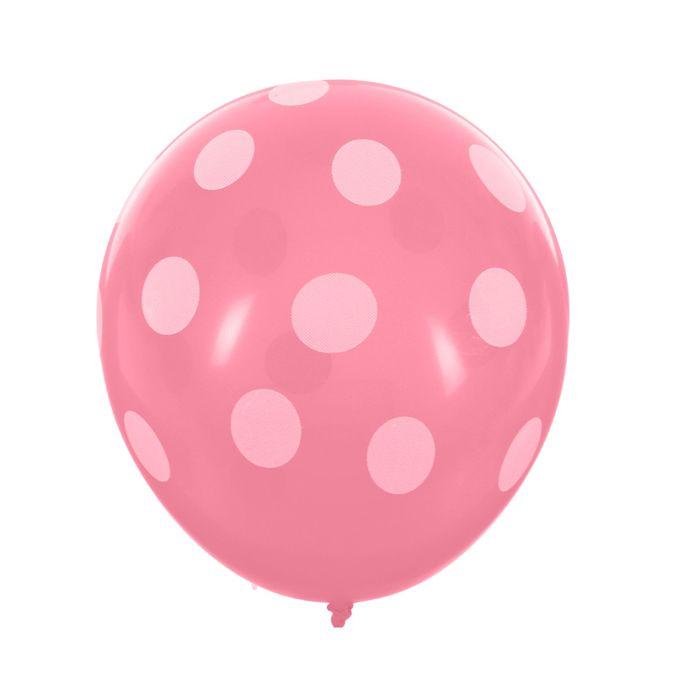 """Шары латексные 12"""" """"Белый горох"""", пастель, 5-сторонний, набор 14 шт., цвет розовый - фото 308468960"""