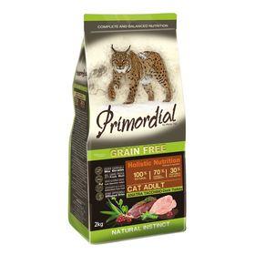 Сухой корм PRIMORDIAL для кошек, беззерновой, утка/индейка, 2 кг