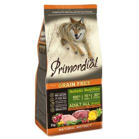 Сухой корм PRIMORDIAL для собак, беззерновой, оленина/индейка, 2 кг.