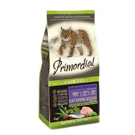 Сухой корм PRIMORDIAL для стерилизованных кошек, беззерновой, индейка/сельдь, 2 кг