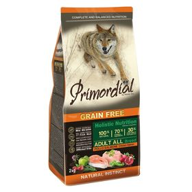 Сухой корм PRIMORDIAL для собак, беззерновой, курица/лосось, 2 кг.