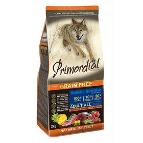 Сухой корм PRIMORDIAL для собак, беззерновой, тунец/ягненок, 2 кг.