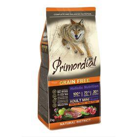 Сухой корм PRIMORDIAL для собак мелких пород, форель/утка, 2 кг.