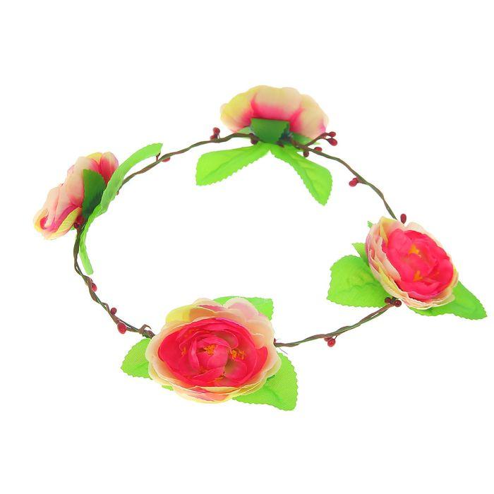 """Венок на голову """"Цветная роза"""" с бантом"""