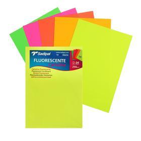Картон цветной флуоресцентный, 210 х 297 мм, Sadipal , НАБОР 5 листов, микс*5 цветов, 250 г/м2