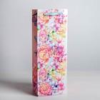 Пакет ламинированный под бутылку «Цветы и бабочки», 13 × 36 × 10 см