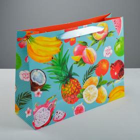 Пакет на длинной ручке «Экзотические фрукты», 35 х 27 х 12 см