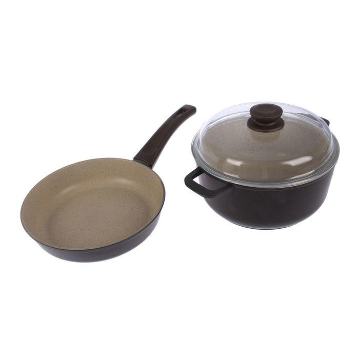 Набор посуды: сковорода d=22 см, кастрюля со стеклянной крышкой 3 л