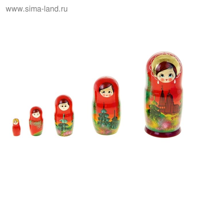 """Матрешка """"Храм"""", красное платье, лето, 5 кукольная"""