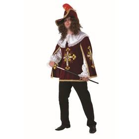 Карнавальный костюм для взрослых «Мушкетёр», бархат, плащ, парик, шляпа, р. 50, рост 182 см, цвет бордовый
