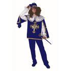 """Карнавальный костюм для взрослых """"Мушкетёр"""", бархат, плащ, парик, шляпа, р-р 50, цвет синий"""