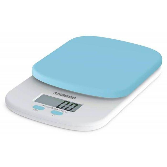 Весы кухонные Starwind SSK2156, электронные, до 2 кг, голубые