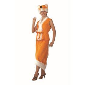 Карнавальный костюм «Лиса», плюш, (жакет, юбка, маска), р. 44-46