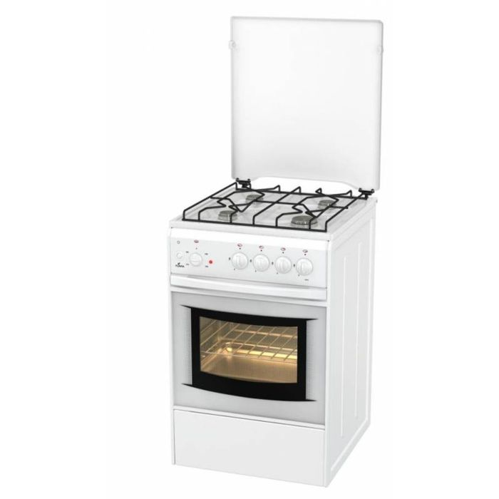 Плита газовая Flama AK 1411 W, 4 конфорки, 50 л, электрическая духовка, белый