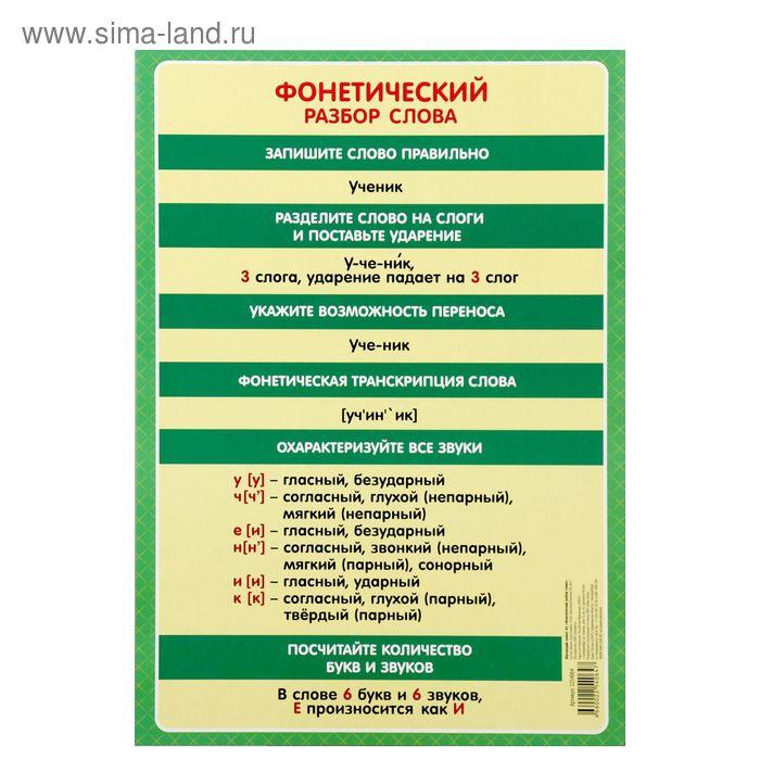f120a9b5ef92 Интернет-магазин СПАрх   Обучающий плакат А3 Фонетический разбор слова