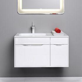 Комплект мебели Aqwella MALAGA 90 подвесной, тумба с раковиной Malaga 900L, белый, левый