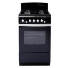 Плита De Luxe 5040.36 Г, газовая, 4 конфорки, 43 л, газовая духовка, чёрная