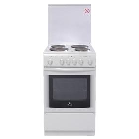 Плита De Luxe 5004.10 Э КР, электрическая, 4 конфорки, 43 л, эмаль, гриль, белая