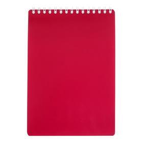 Блокнот А5, 50 листов на гребне «Тёмно-красный», клетка, обложка мелованный картон