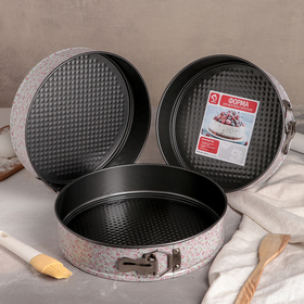 """A set of forms for baking """"pastoral. Circle"""", 3 PCs: 24/26/28 cm, height 7 cm, detachable, non-stick coating"""