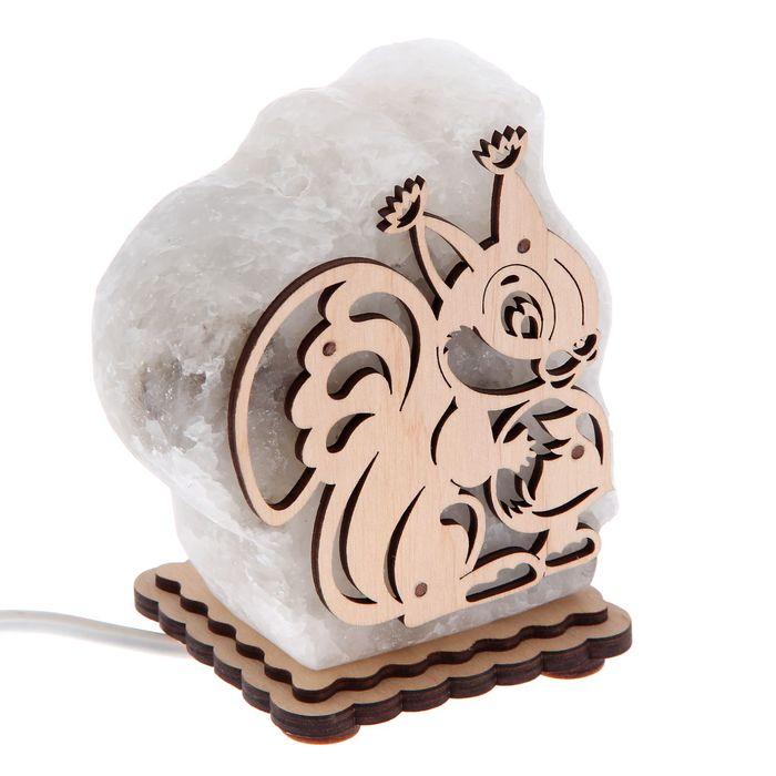 """Соляной светильник """"Белка"""" малый 12х10х6 см, деревянный декор"""