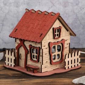 Соляной светильник 'Домик' № 1 с кристаллами 16х15 см, деревянный декор Ош