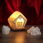 """Соляной светильник """"Домик"""" 9х13 см, деревянный декор, цельный кристалл"""