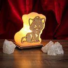 """Соляной светильник """"Кот"""" малый 12 х 12 х 6 см, деревянный декор"""