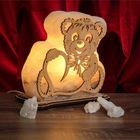 """Соляной светильник """"Мишка"""" большой 18х18х6 см, деревянный декор, цельный кристалл"""