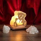"""Соляной светильник """"Мишка"""" малый 11х11х6 см, деревянный декор, цельный кристалл"""