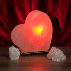 """Соляной светильник """"Сердце"""" большой 18 х 17 х 6 см, цветной, цельный кристалл"""