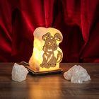 """Соляной светильник """"Собака"""" малый 13 х 9 х 6 см, деревянный декор, цельный кристалл"""