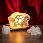 """Соляной светильник """"Черепаха"""" малый 13х9х6 см, деревянный декор, цельный кристалл"""