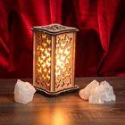 """Соляной светильник """"Бабочки"""" малый 15 x 10 см, деревянный декор"""