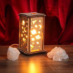 Соляной светильник 'Космос' малый 15 x 10 см, деревянный декор Ош