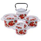 """Набор посуды """"Маки. Мечта"""", 4 предмета: кастрюли 1,5 л, 2,9 л, 4,5 л, чайник 3,5 л, цвет белый"""
