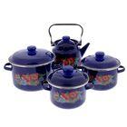 """Набор посуды """"Шиповник"""", 4 предмета: кастрюли 2 л; 3 л; 5,5 л, чайник 3,5 л, цвет синий"""