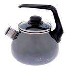 Чайник со свистком 2 л сферический Bon Appetit, фиксированная ручка, цвет мокрый асфальт