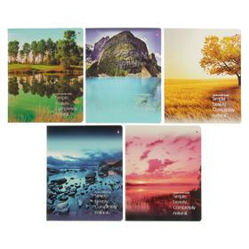 Тетрадь 48 листов в клетку «Природа. Пейзажи», обложка мелованный картон, УФ-лак, МИКС