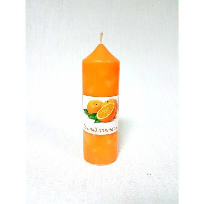 Свеча цилиндрическая «Апельсин», ручная работа, 5 х 15.5 см