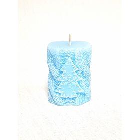 Свеча 'Ручная работа' цилиндр Вязанный с ёлкой 5.5*7.5 голубой Ош