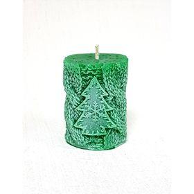 Свеча 'Ручная работа' цилиндр Вязанный с ёлкой 5.5*7.5 зеленый Ош