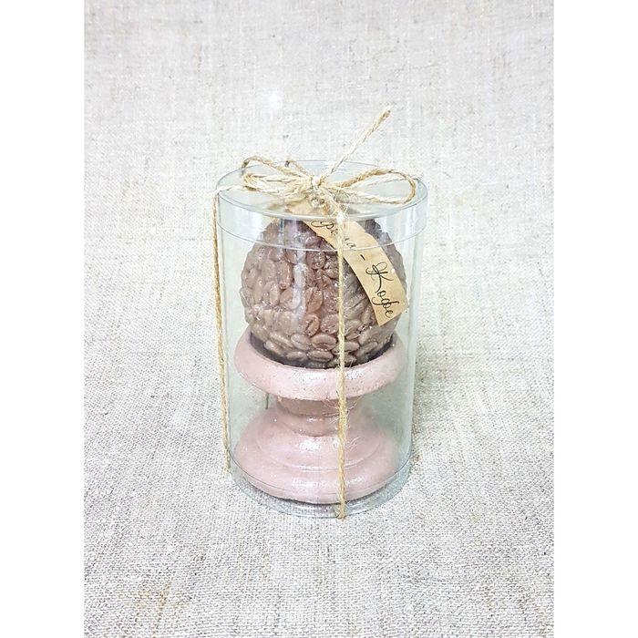 Свеча-шар ароматическая на подставке «Кофейное зерно», ручная работа, 6.5 х 6 см, премиум