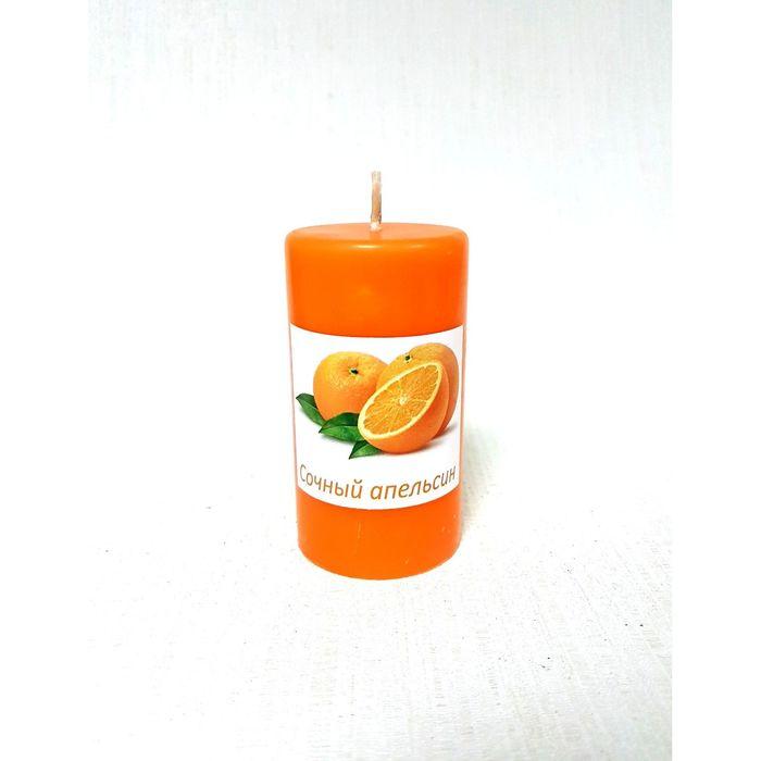 Свеча цилиндрическая «Апельсин», ручная работа, 9.5 х 5.2 см