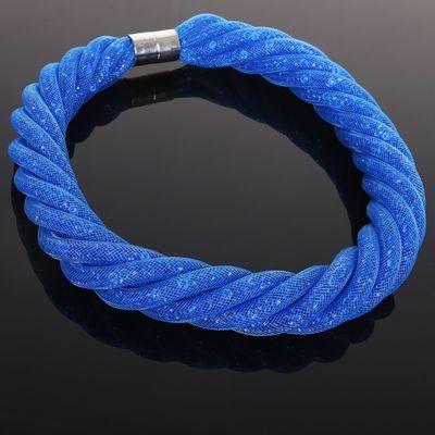 """Бусы 6 нитей """"Стардаст"""" плетение, цвет синий, 50см"""