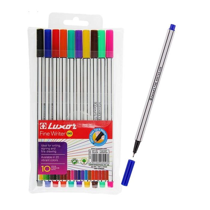 Набор ручек капиллярных 10 цветов Luxor Fine Writer, 045, 0.8 мм, 7140/10WT/7120/10WT 2