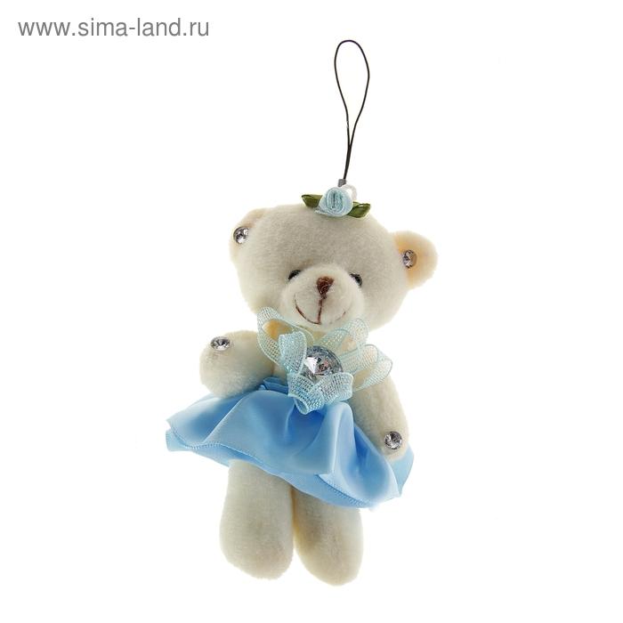 """Мягкая игрушка-подвеска """"Мишка в платье"""", цвет голубой"""